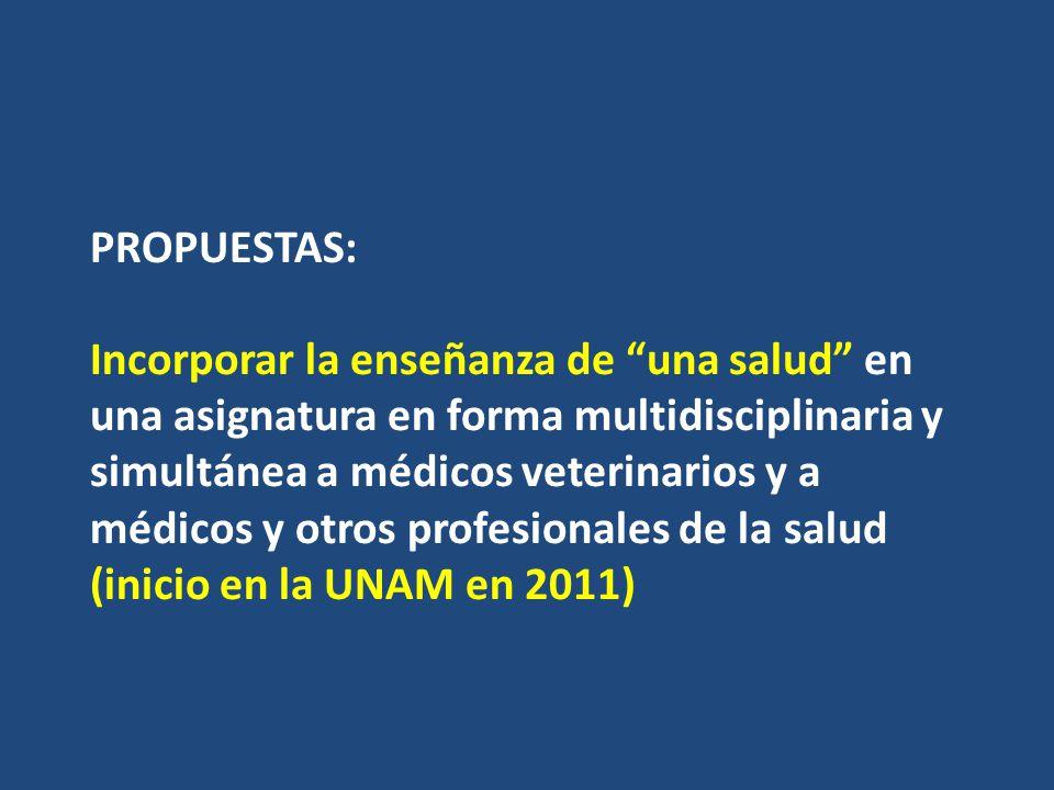 PROPUESTAS: Incorporar la enseñanza de una salud en una asignatura en forma multidisciplinaria y simultánea a médicos veterinarios y a médicos y otros