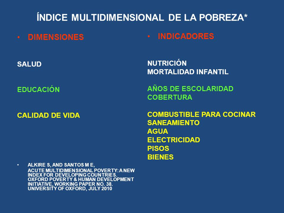 ÍNDICE MULTIDIMENSIONAL DE LA POBREZA* DIMENSIONES SALUD EDUCACIÓN CALIDAD DE VIDA ALKIRE S, AND SANTOS M E, ACUTE MULTIDIMENSIONAL POVERTY: A NEW IND