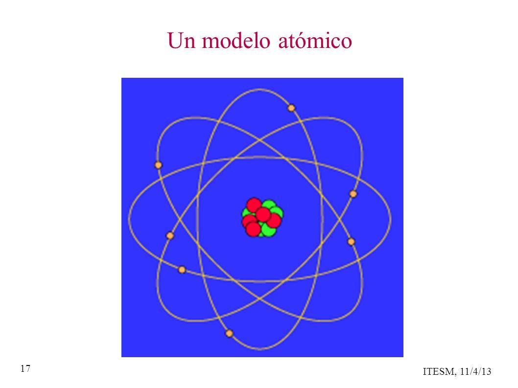 ITESM, 11/4/13 17 Un modelo atómico