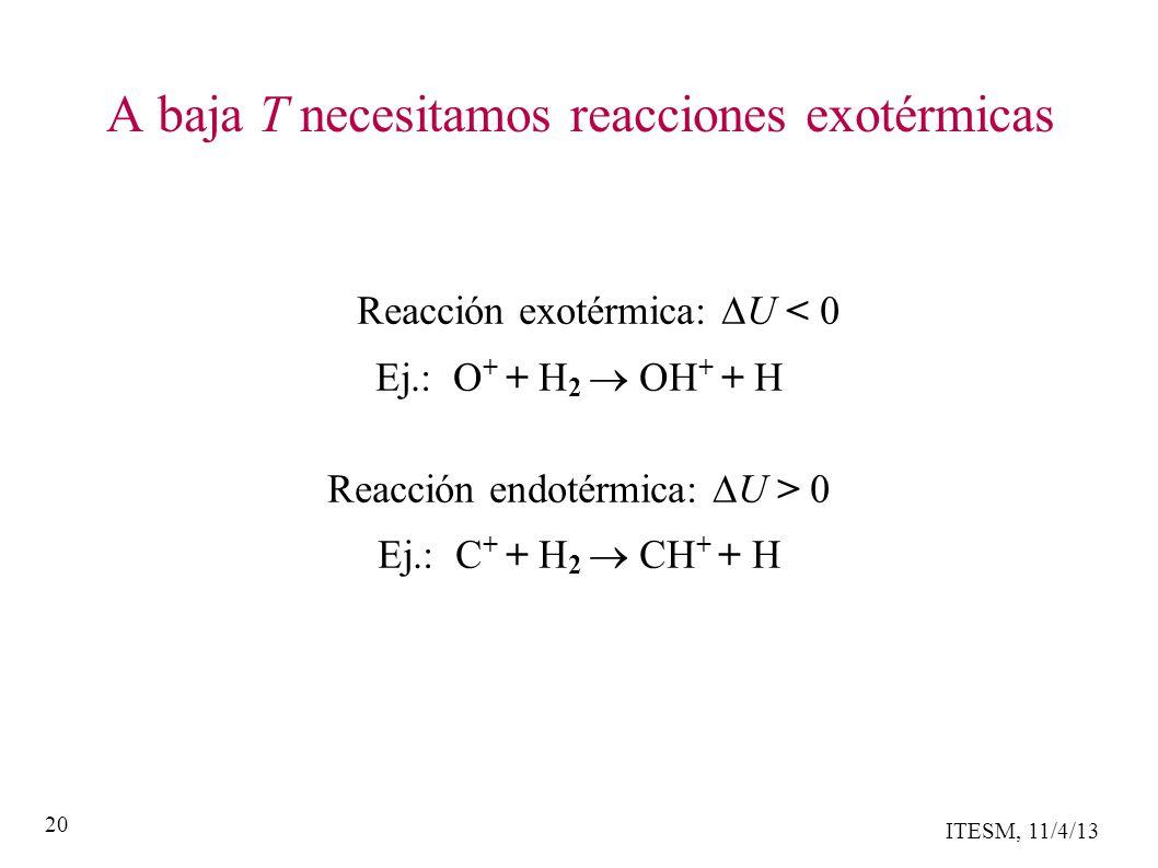 ITESM, 11/4/13 20 A baja T necesitamos reacciones exotérmicas Reacción exotérmica: U < 0 Ej.: O + + H 2 OH + + H Reacción endotérmica: U > 0 Ej.: C + + H 2 CH + + H