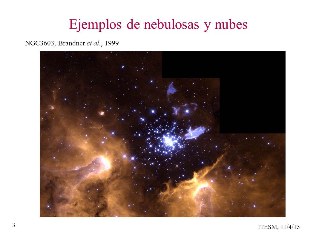 ITESM, 11/4/13 14 Formando moléculas en el espacio Para una reacción T + B Z y n(T) = 1,000 cm -3 k(T) n(B) = # moléculas Z formadas por seg y k(T) n(B) n(T) = # moléculas Z formadas por seg por cm -3 Si los átomos fuesen esféras rigidas: A = R 2 con R = 10 -8 cm y ~ 10,000 (T) 1/2 cm/s k(T) = A ~ 10 -11 cm 3 s -1 con T = 100 K y k(T) n(B) = una molécula por año !!