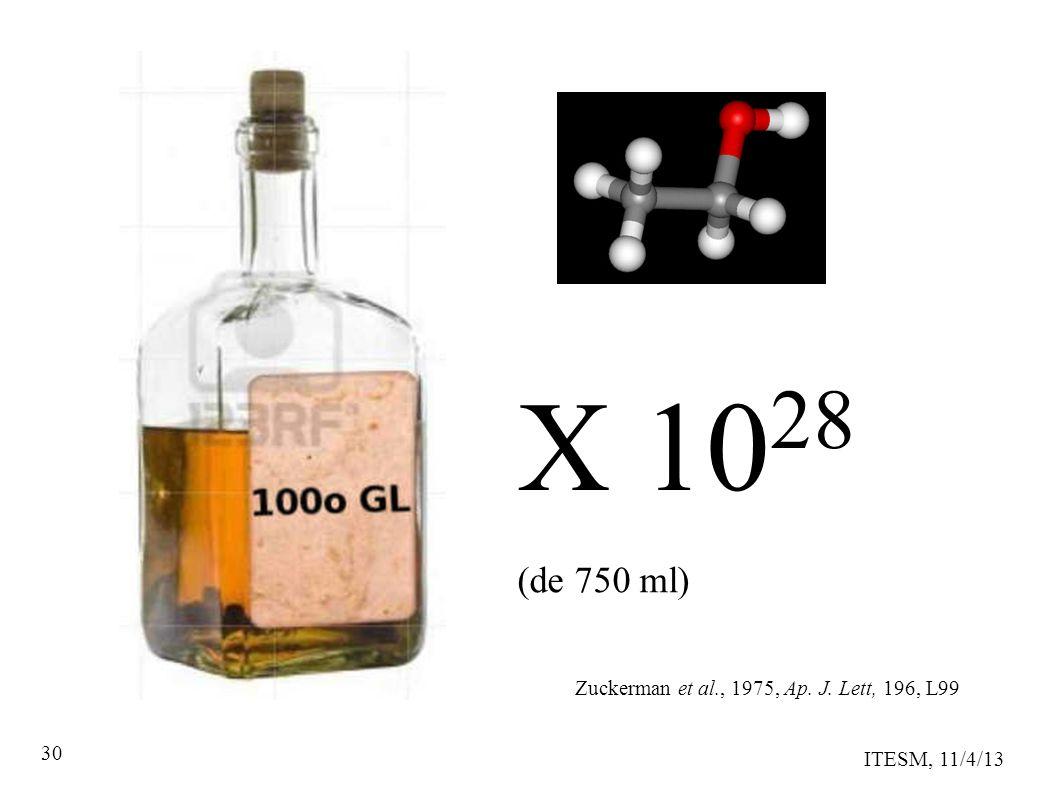 ITESM, 11/4/13 30 X 10 28 Zuckerman et al., 1975, Ap. J. Lett, 196, L99 (de 750 ml)