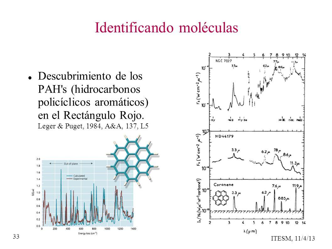 ITESM, 11/4/13 33 Identificando moléculas Descubrimiento de los PAH s (hidrocarbonos policíclicos aromáticos) en el Rectángulo Rojo.