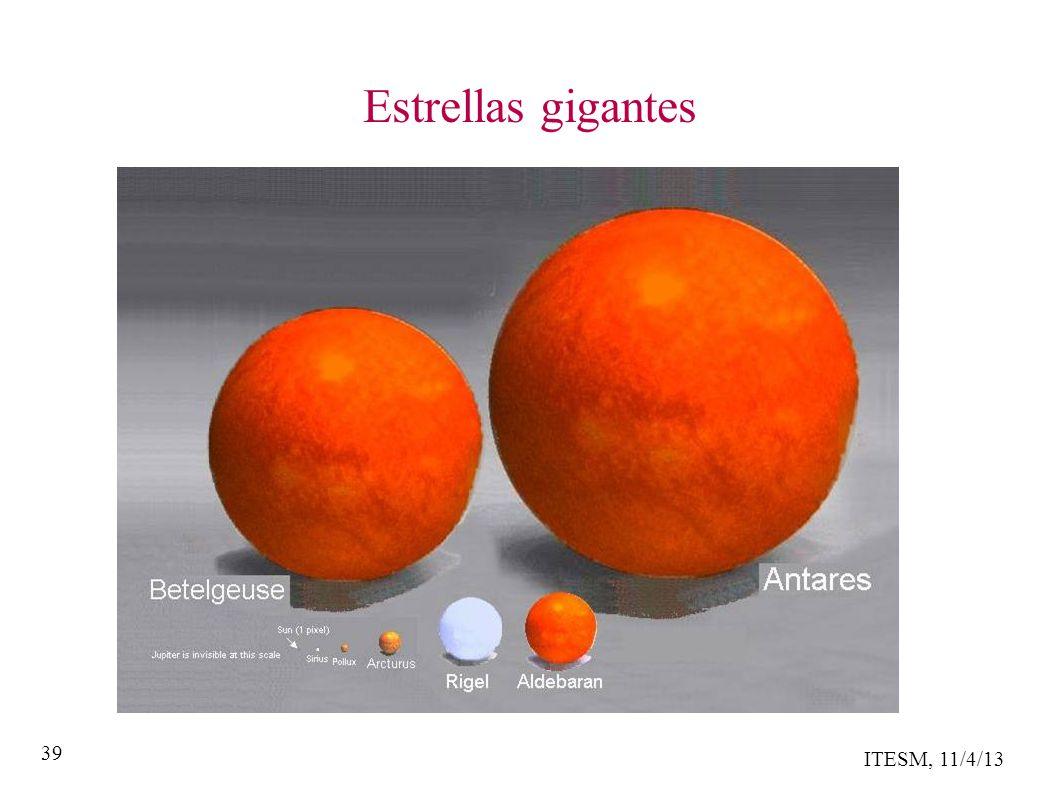 ITESM, 11/4/13 39 Estrellas gigantes