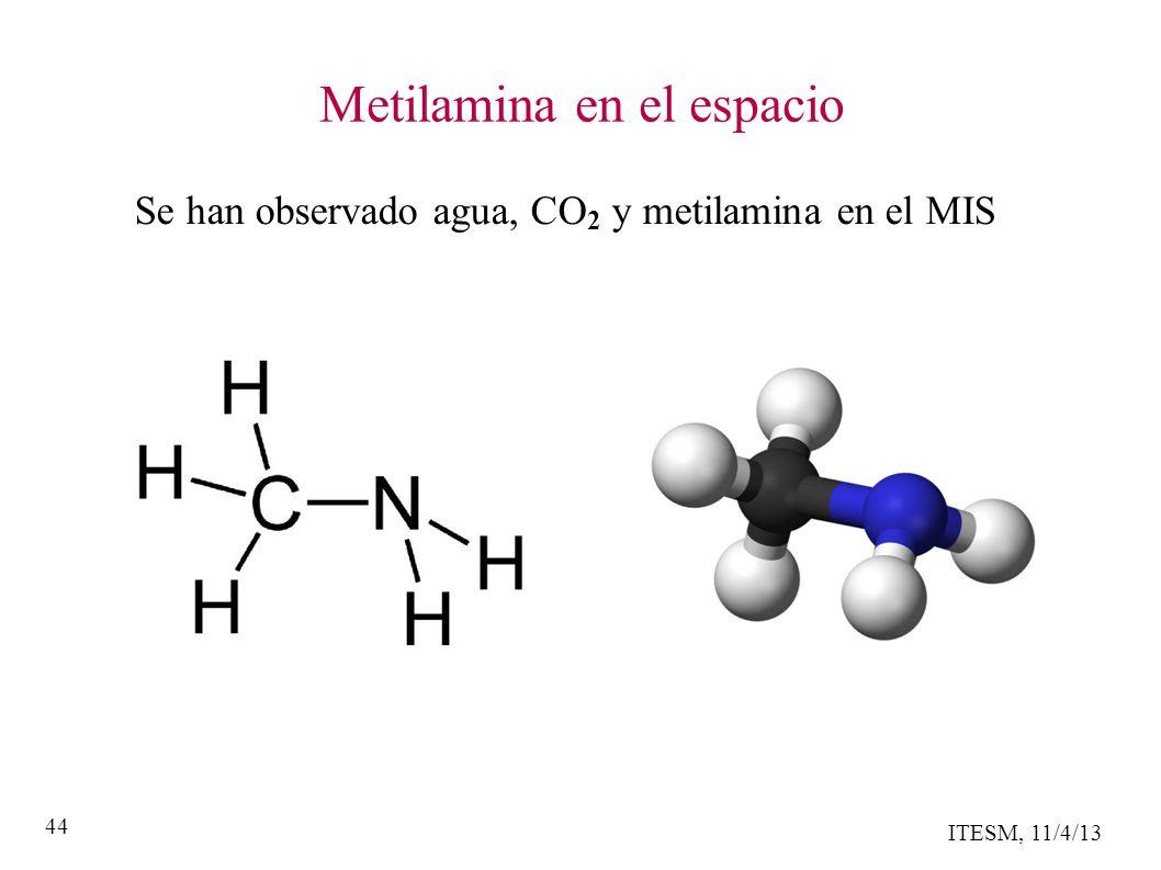 ITESM, 11/4/13 44 Metilamina en el espacio Se han observado agua, CO 2 y metilamina en el MIS