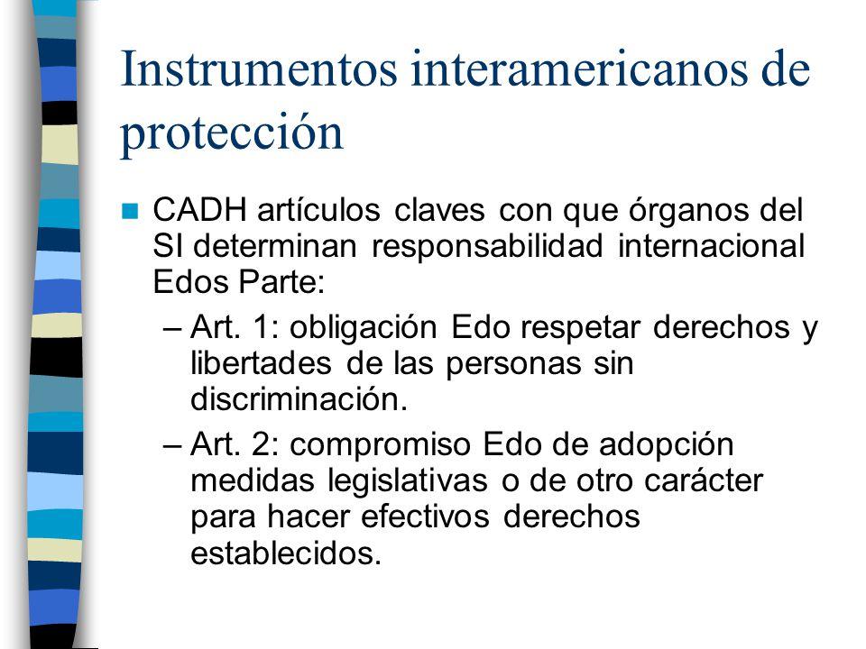 Instrumentos interamericanos de protección CADH artículos claves con que órganos del SI determinan responsabilidad internacional Edos Parte: –Art. 1: