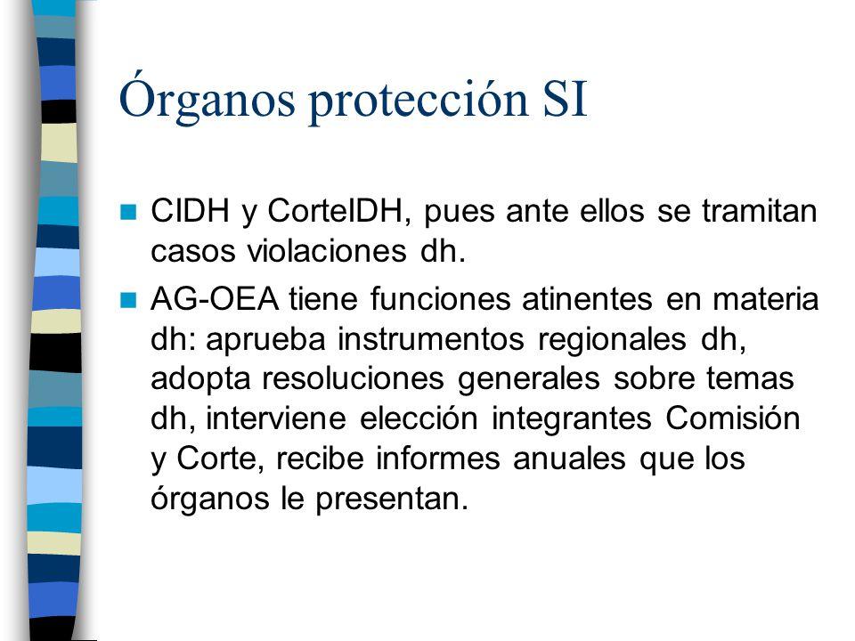Órganos protección SI CIDH y CorteIDH, pues ante ellos se tramitan casos violaciones dh. AG-OEA tiene funciones atinentes en materia dh: aprueba instr