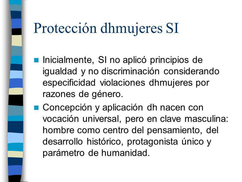 Protección dhmujeres SI Inicialmente, SI no aplicó principios de igualdad y no discriminación considerando especificidad violaciones dhmujeres por raz