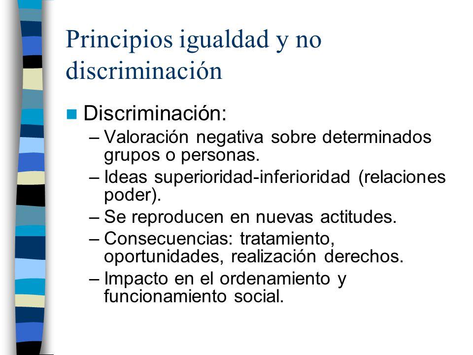 Principios igualdad y no discriminación Discriminación: –Valoración negativa sobre determinados grupos o personas. –Ideas superioridad-inferioridad (r