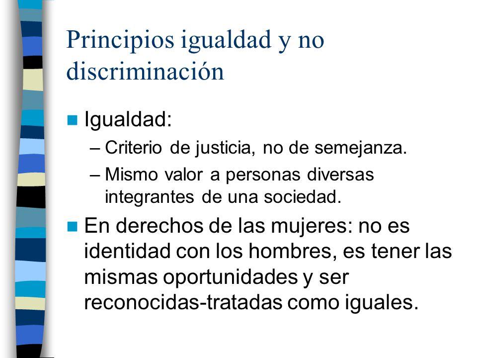 Principios igualdad y no discriminación Igualdad: –Criterio de justicia, no de semejanza. –Mismo valor a personas diversas integrantes de una sociedad