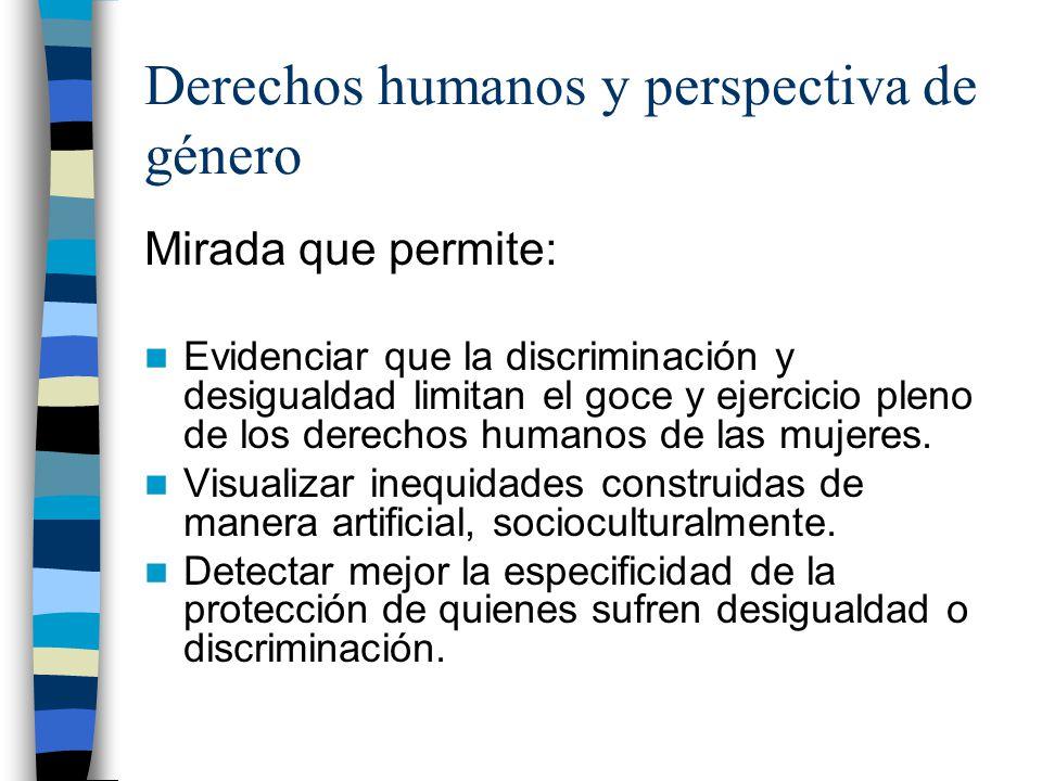Derechos humanos y perspectiva de género Mirada que permite: Evidenciar que la discriminación y desigualdad limitan el goce y ejercicio pleno de los d