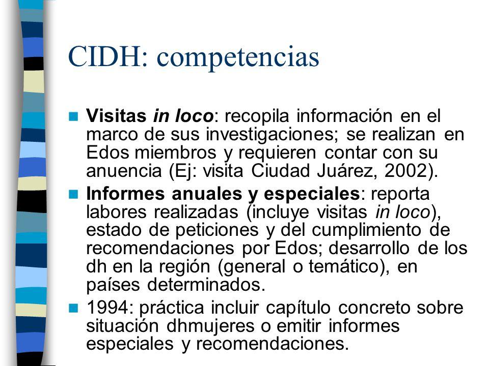 CIDH: competencias Visitas in loco: recopila información en el marco de sus investigaciones; se realizan en Edos miembros y requieren contar con su an