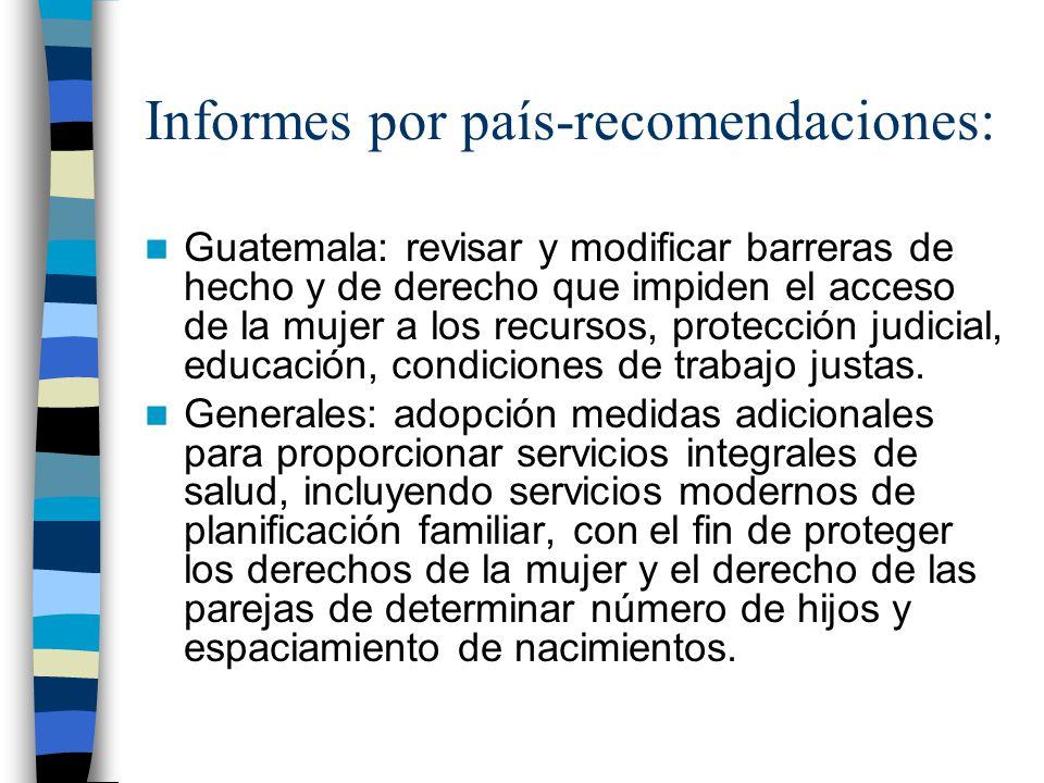Informes por país-recomendaciones: Guatemala: revisar y modificar barreras de hecho y de derecho que impiden el acceso de la mujer a los recursos, pro