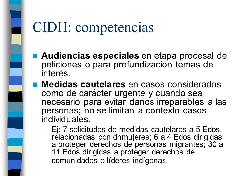 CIDH: competencias Audiencias especiales en etapa procesal de peticiones o para profundización temas de interés. Medidas cautelares en casos considera