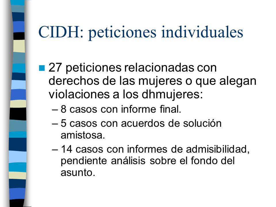 CIDH: peticiones individuales 27 peticiones relacionadas con derechos de las mujeres o que alegan violaciones a los dhmujeres: –8 casos con informe fi