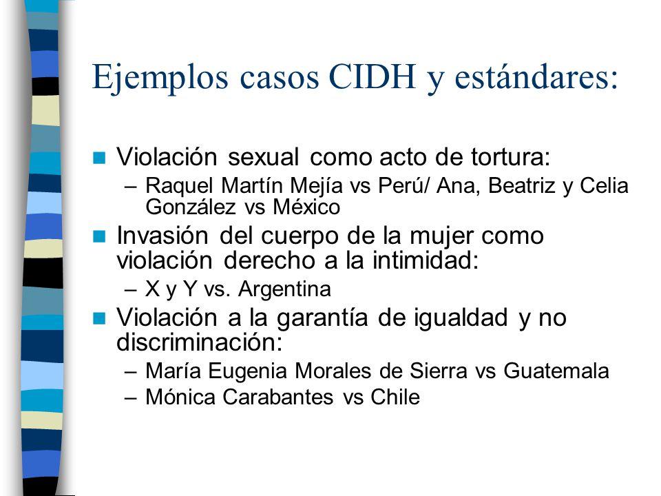 Ejemplos casos CIDH y estándares: Violación sexual como acto de tortura: –Raquel Martín Mejía vs Perú/ Ana, Beatriz y Celia González vs México Invasió