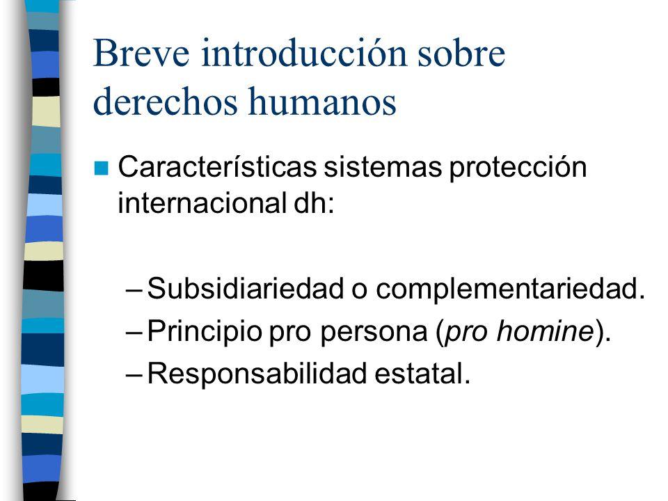 Breve introducción sobre derechos humanos Características sistemas protección internacional dh: –Subsidiariedad o complementariedad. –Principio pro pe