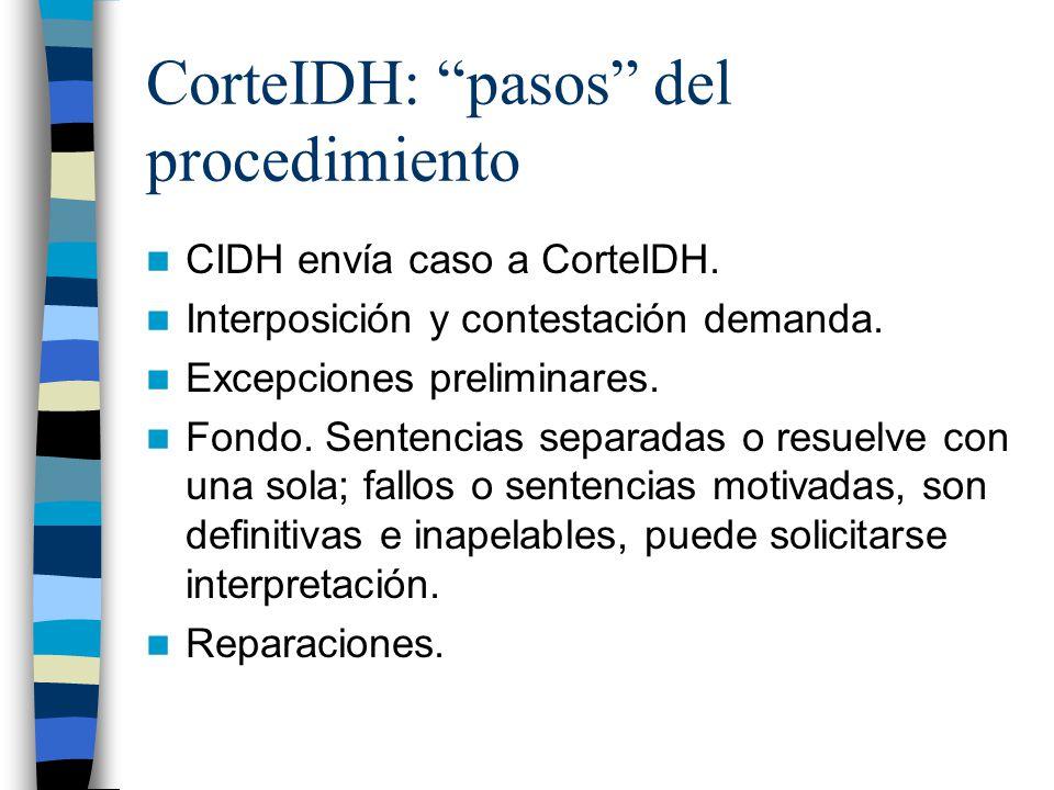 CorteIDH: pasos del procedimiento CIDH envía caso a CorteIDH. Interposición y contestación demanda. Excepciones preliminares. Fondo. Sentencias separa