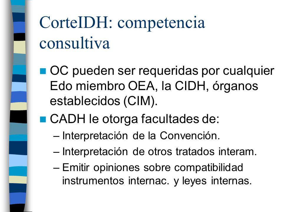 CorteIDH: competencia consultiva OC pueden ser requeridas por cualquier Edo miembro OEA, la CIDH, órganos establecidos (CIM). CADH le otorga facultade