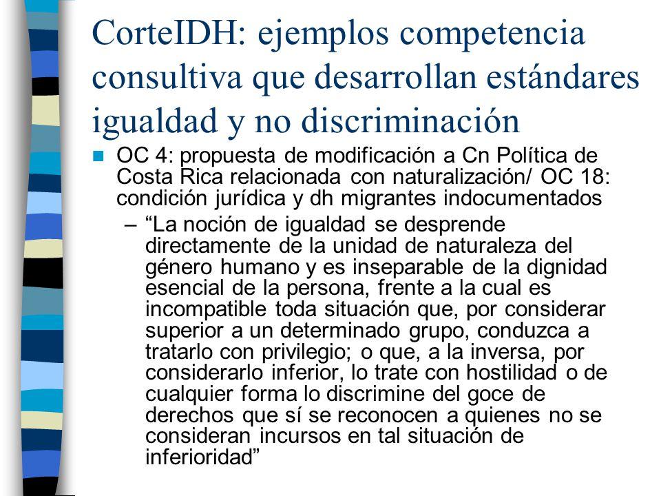 CorteIDH: ejemplos competencia consultiva que desarrollan estándares igualdad y no discriminación OC 4: propuesta de modificación a Cn Política de Cos