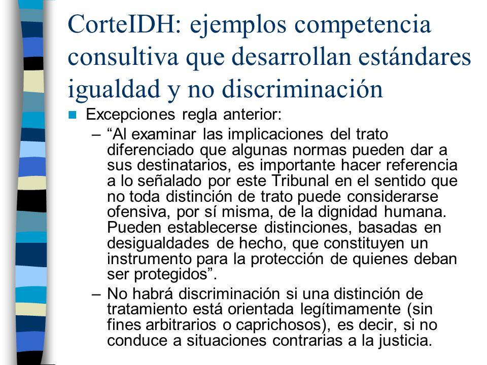 CorteIDH: ejemplos competencia consultiva que desarrollan estándares igualdad y no discriminación Excepciones regla anterior: –Al examinar las implica