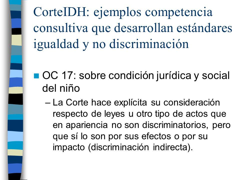 CorteIDH: ejemplos competencia consultiva que desarrollan estándares igualdad y no discriminación OC 17: sobre condición jurídica y social del niño –L