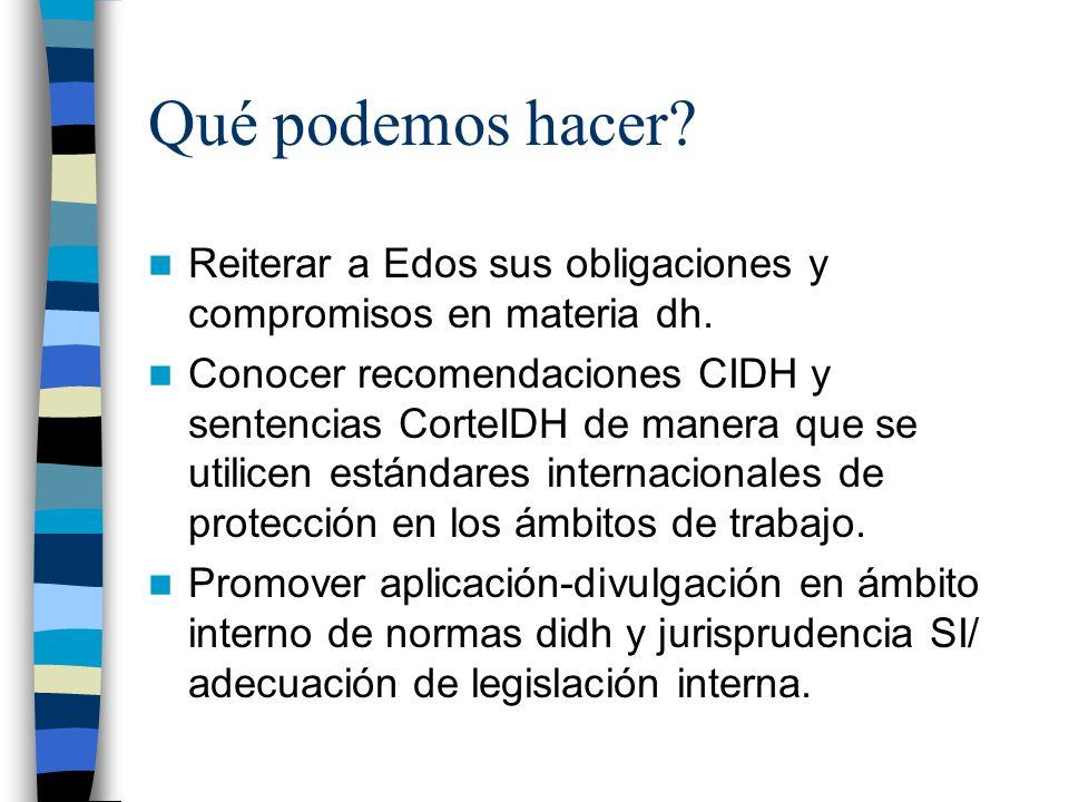 Qué podemos hacer? Reiterar a Edos sus obligaciones y compromisos en materia dh. Conocer recomendaciones CIDH y sentencias CorteIDH de manera que se u