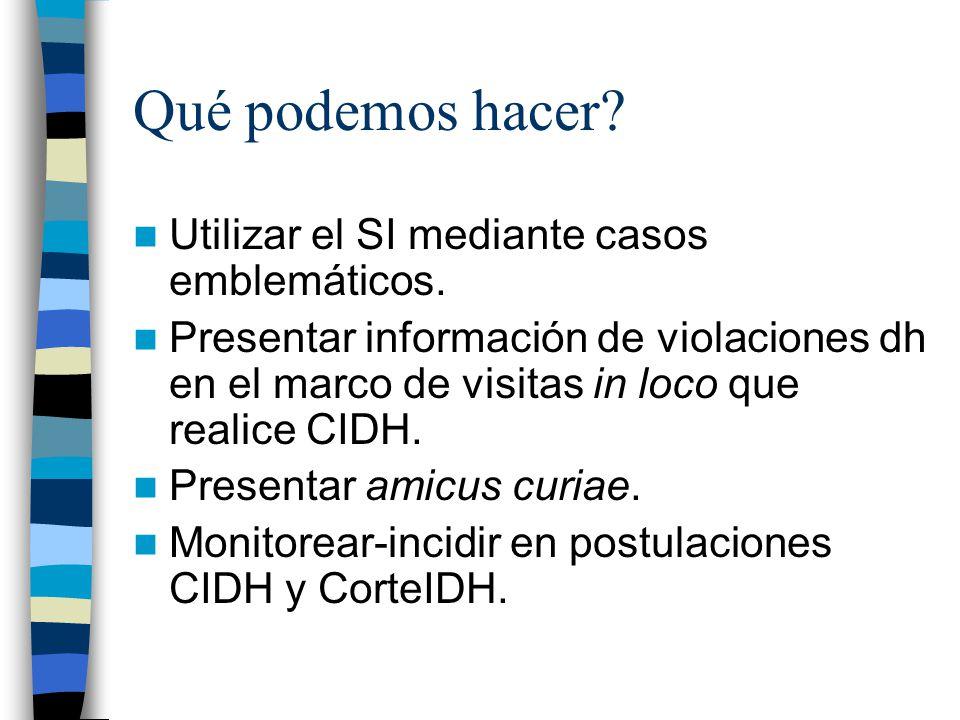 Qué podemos hacer? Utilizar el SI mediante casos emblemáticos. Presentar información de violaciones dh en el marco de visitas in loco que realice CIDH