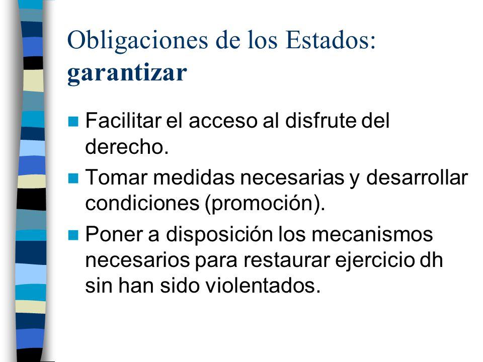 Obligaciones de los Estados: garantizar Facilitar el acceso al disfrute del derecho. Tomar medidas necesarias y desarrollar condiciones (promoción). P