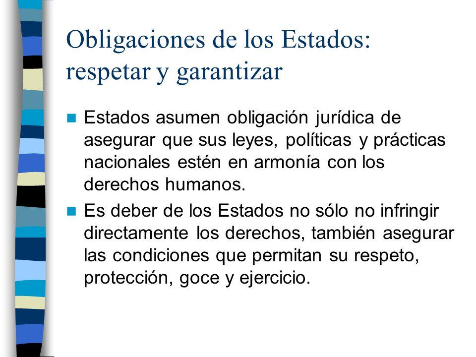 Obligaciones de los Estados: respetar y garantizar Estados asumen obligación jurídica de asegurar que sus leyes, políticas y prácticas nacionales esté