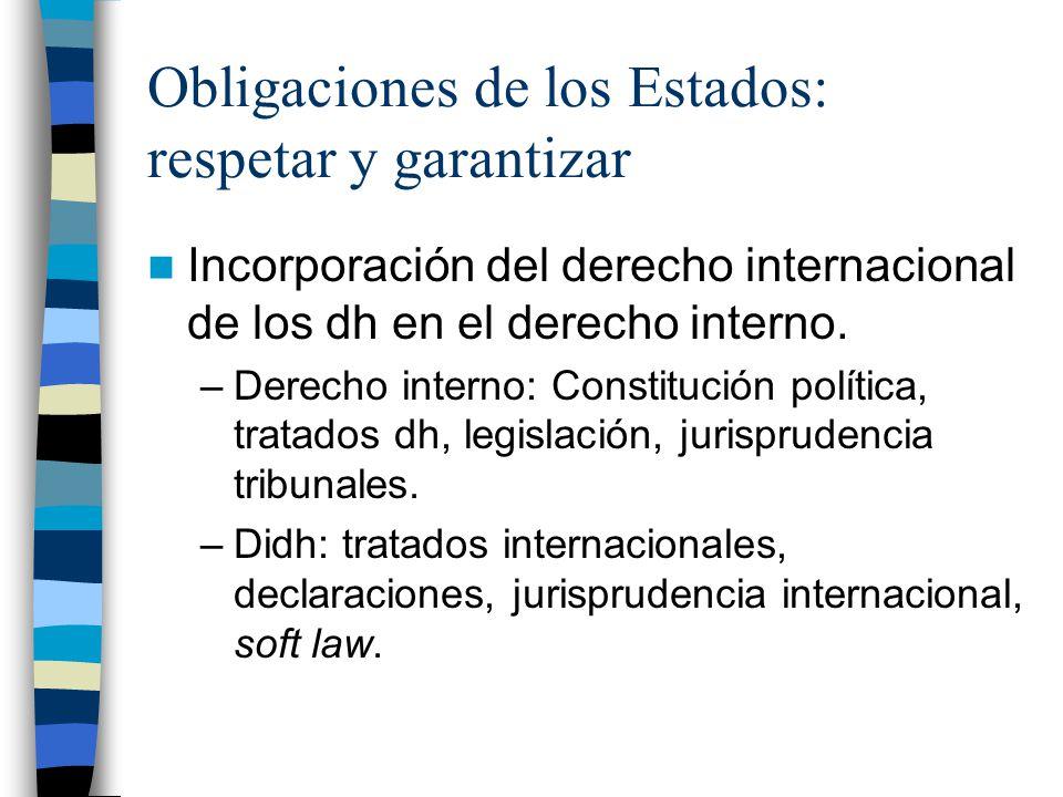Obligaciones de los Estados: respetar y garantizar Incorporación del derecho internacional de los dh en el derecho interno. –Derecho interno: Constitu