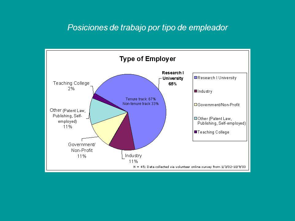 Posiciones de trabajo por tipo de empleador