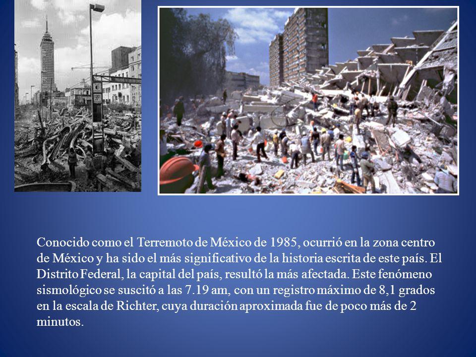 Conocido como el Terremoto de México de 1985, ocurrió en la zona centro de México y ha sido el más significativo de la historia escrita de este país.