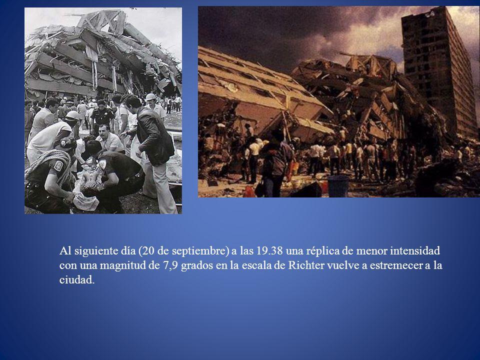 Al siguiente día (20 de septiembre) a las 19.38 una réplica de menor intensidad con una magnitud de 7,9 grados en la escala de Richter vuelve a estrem