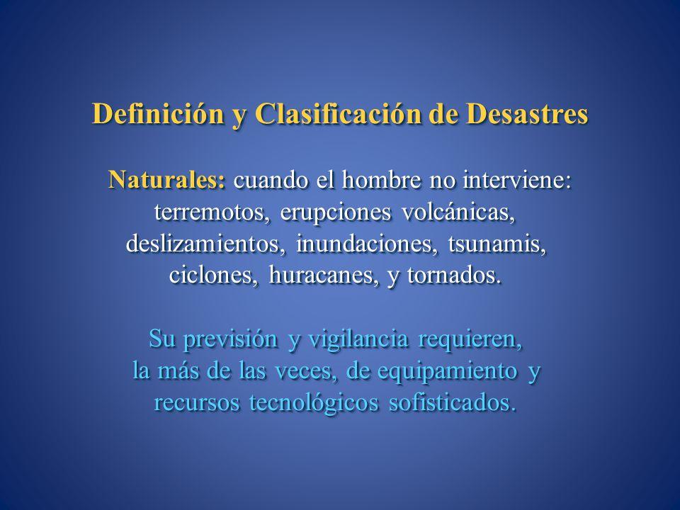 Definición y Clasificación de Desastres Naturales: cuando el hombre no interviene: terremotos, erupciones volcánicas, deslizamientos, inundaciones, ts