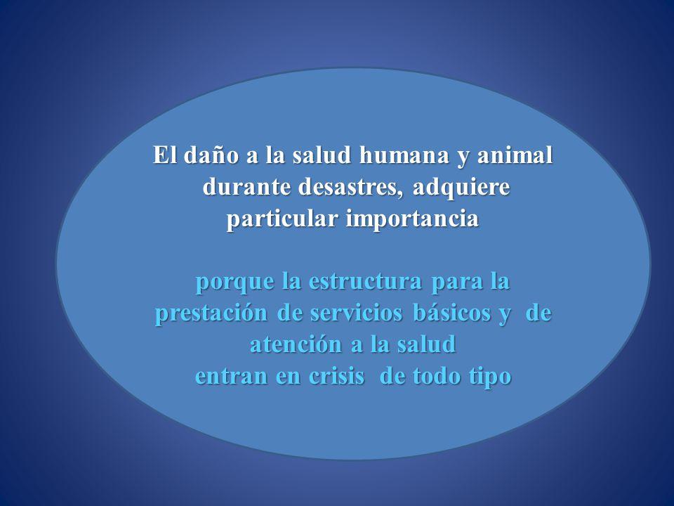 El daño a la salud humana y animal durante desastres, adquiere durante desastres, adquiere particular importancia porque la estructura para la prestac