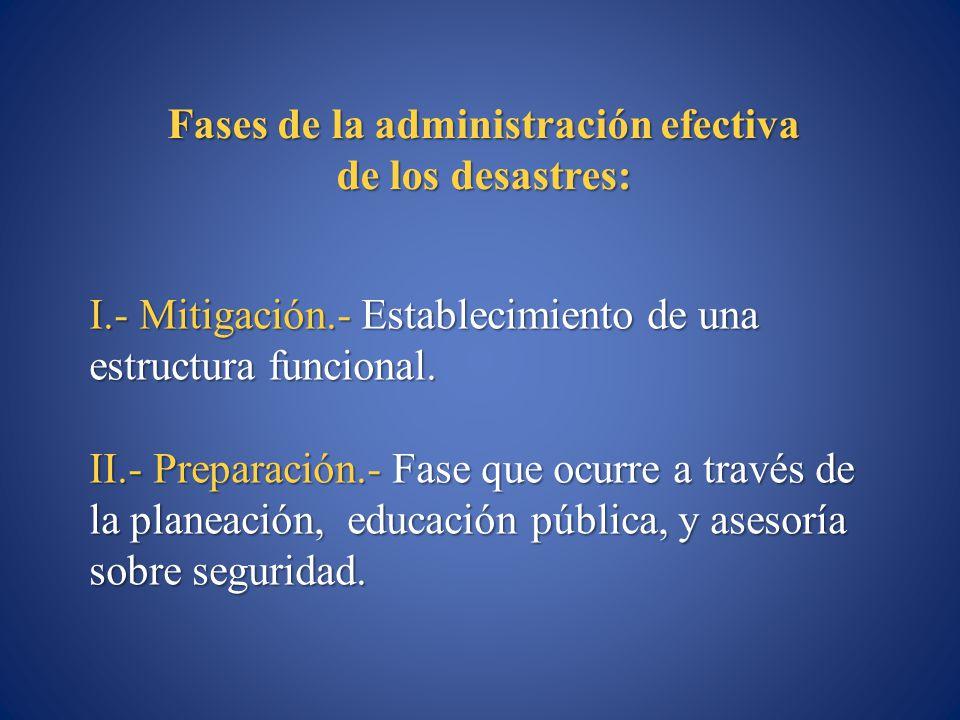 Fases de la administración efectiva de los desastres: I.- Mitigación.- Establecimiento de una estructura funcional. II.- Preparación.- Fase que ocurre
