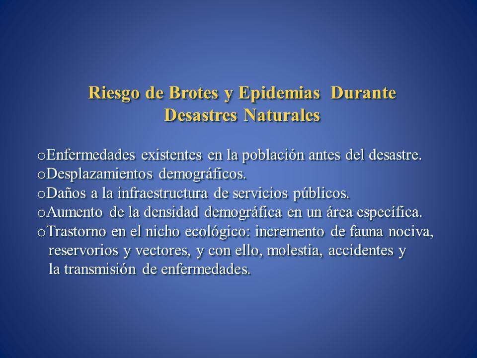 Riesgo de Brotes y Epidemias Durante Desastres Naturales o Enfermedades existentes en la población antes del desastre. o Desplazamientos demográficos.
