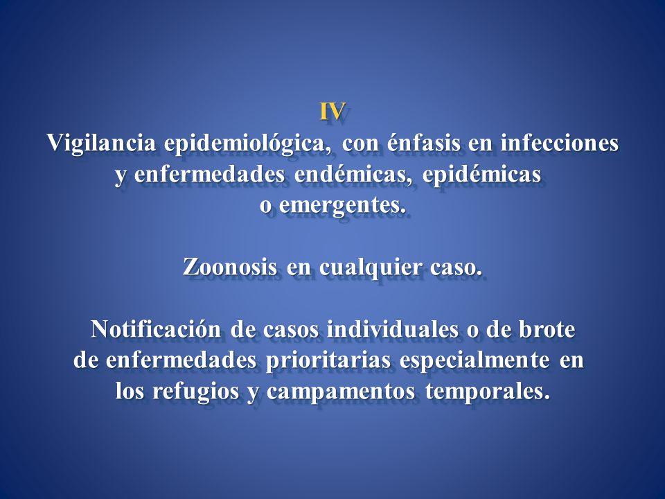 IV Vigilancia epidemiológica, con énfasis en infecciones y enfermedades endémicas, epidémicas o emergentes. Zoonosis en cualquier caso. Notificación d
