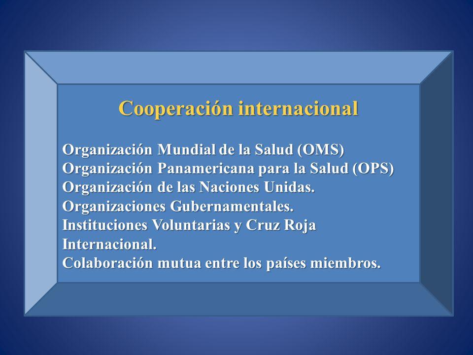 Cooperación internacional Organización Mundial de la Salud (OMS) Organización Panamericana para la Salud (OPS) Organización de las Naciones Unidas. Or