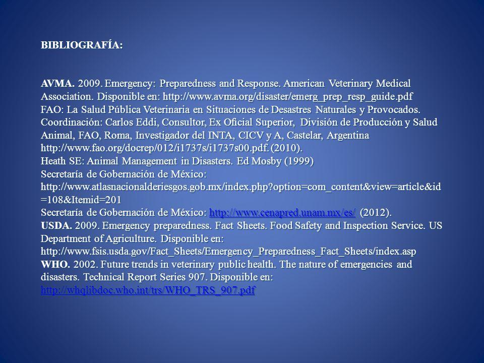 BIBLIOGRAFÍA: AVMA. 2009. Emergency: Preparedness and Response. American Veterinary Medical Association. Disponible en: http://www.avma.org/disaster/e