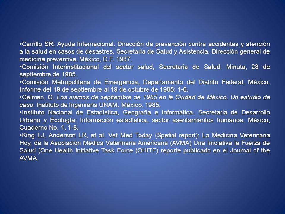 Carrillo SR: Ayuda Internacional. Dirección de prevención contra accidentes y atención a la salud en casos de desastres, Secretaria de Salud y Asisten