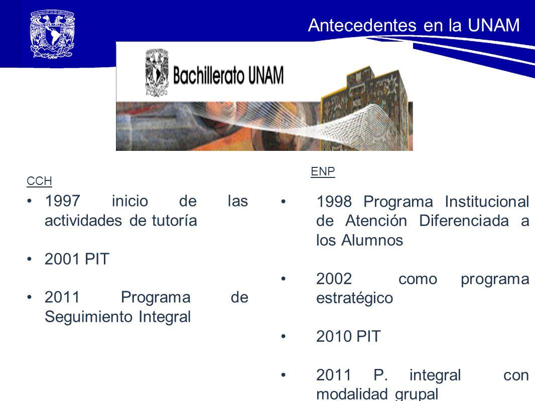 CCH 1997 inicio de las actividades de tutoría 2001 PIT 2011 Programa de Seguimiento Integral ENP 1998 Programa Institucional de Atención Diferenciada
