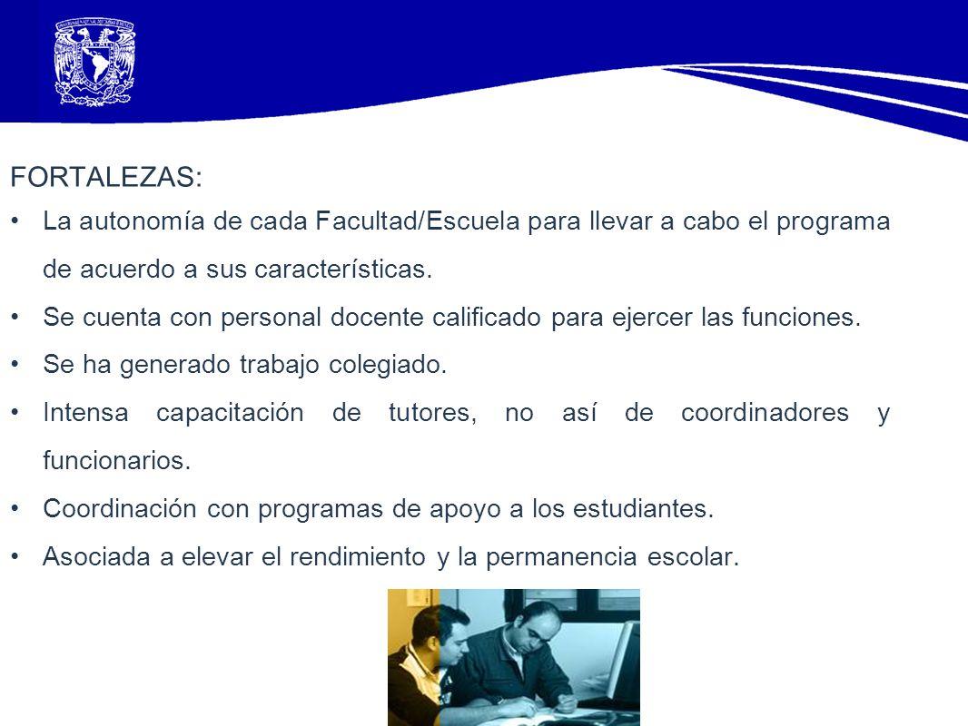 FORTALEZAS: La autonomía de cada Facultad/Escuela para llevar a cabo el programa de acuerdo a sus características. Se cuenta con personal docente cali