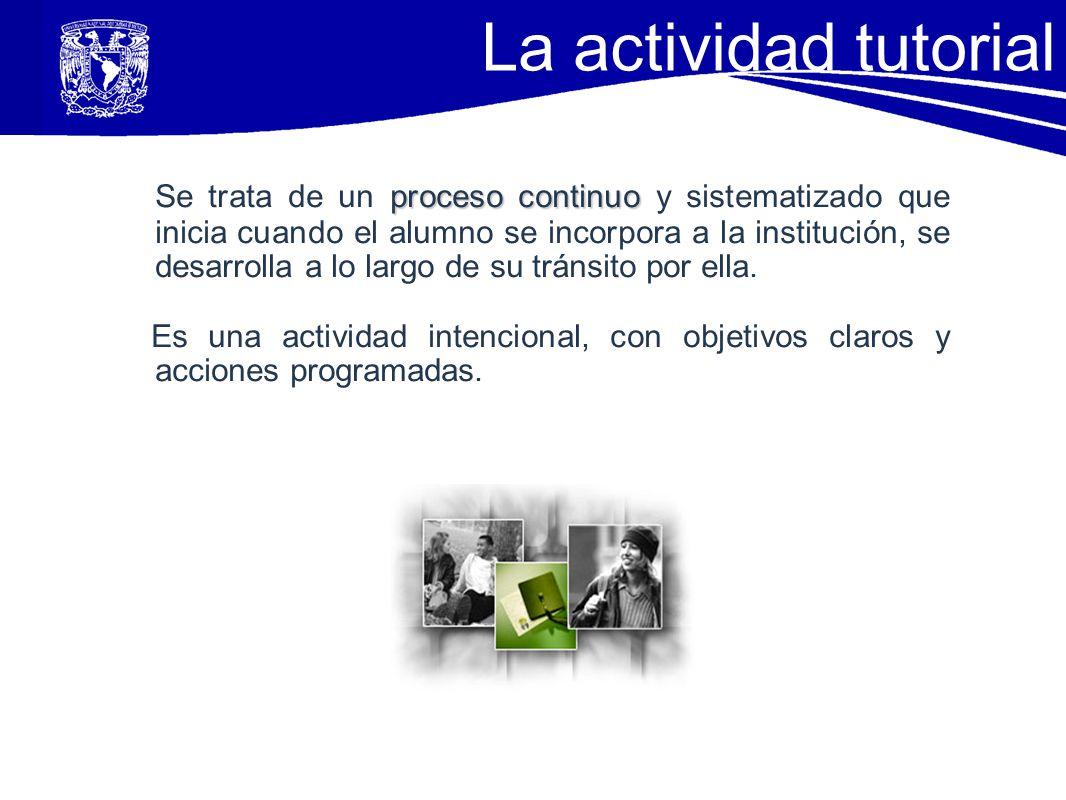 La actividad tutorial proceso continuo Se trata de un proceso continuo y sistematizado que inicia cuando el alumno se incorpora a la institución, se d