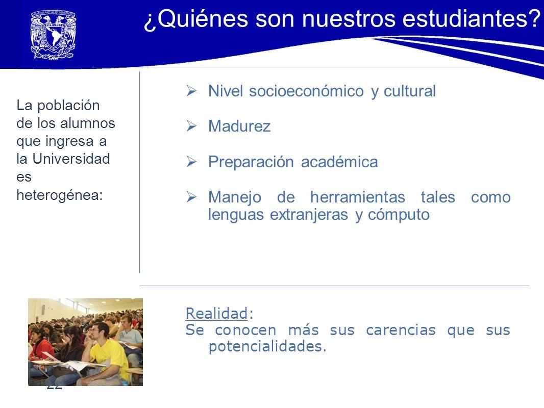 Nivel socioeconómico y cultural Madurez Preparación académica Manejo de herramientas tales como lenguas extranjeras y cómputo Realidad: Se conocen más