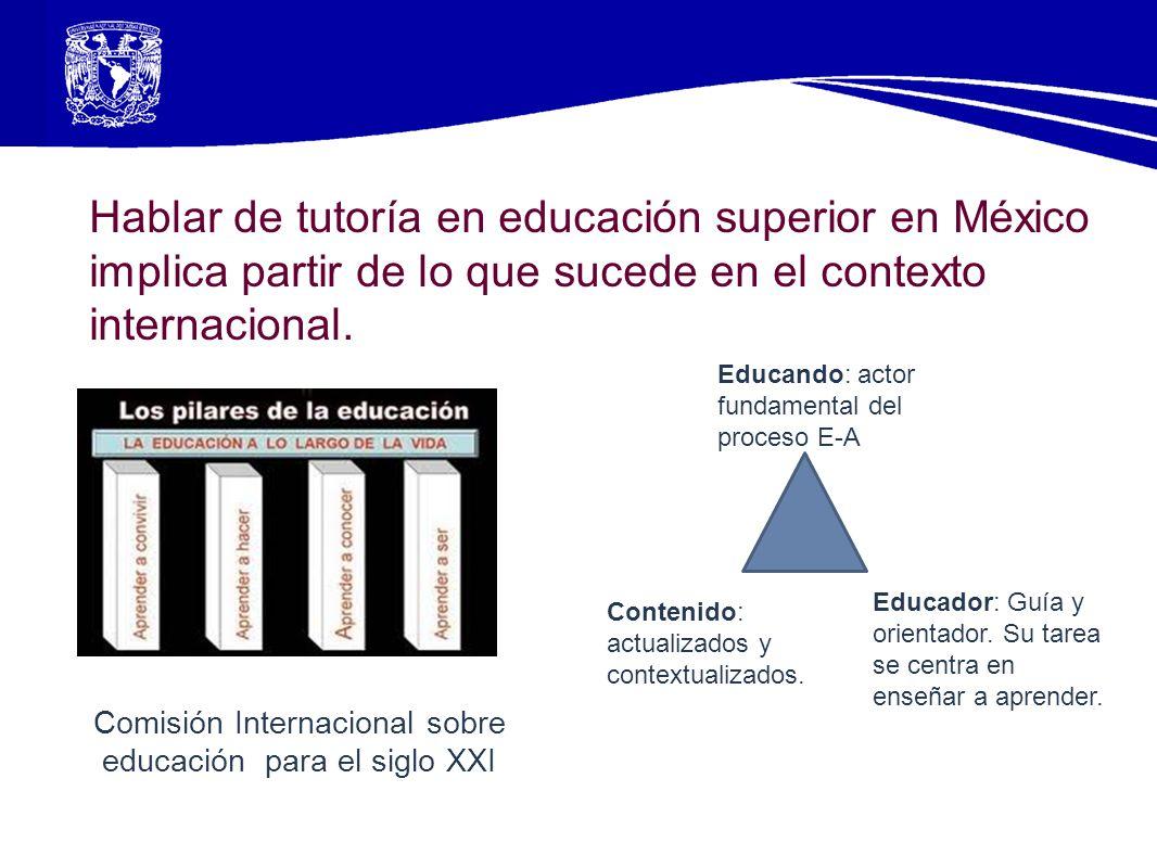 Hablar de tutoría en educación superior en México implica partir de lo que sucede en el contexto internacional. Educando: actor fundamental del proces