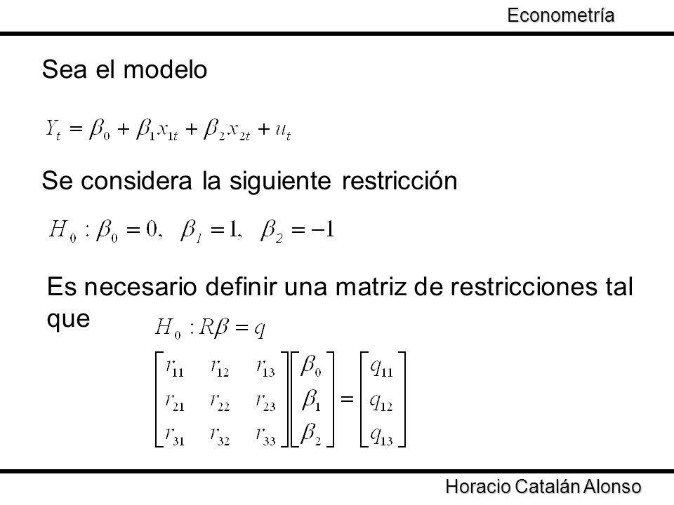 Taller de Econometría Horacio Catalán Alonso Econometría Sea el modelo Se considera la siguiente restricción Es necesario definir una matriz de restri