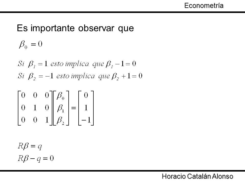 Taller de Econometría Horacio Catalán Alonso Econometría Es importante observar que