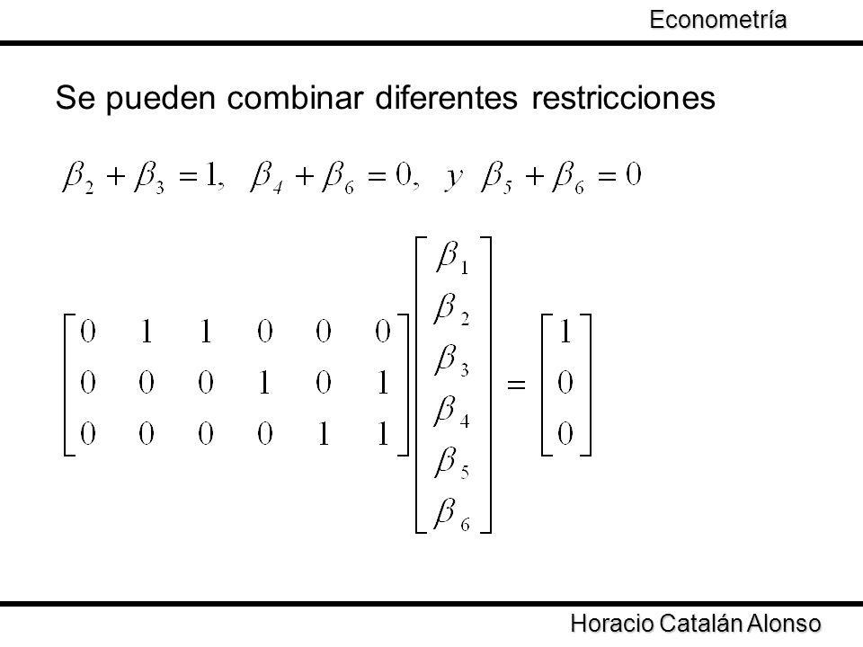 Taller de Econometría Horacio Catalán Alonso Econometría Se pueden combinar diferentes restricciones